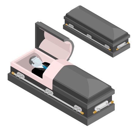 Defunct in coffin. Dead man lay in wooden casket. Corpse in an open hearse for burial