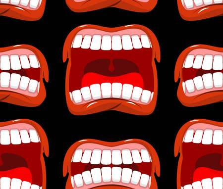 scream: Yells lips seamless pattern. cry background. aggressive emotion texture. Open your mouth and tongue. Flying saliva. Shout. Shrill scream. Swearing and bad language