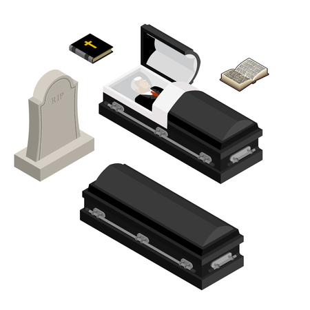 Funeral set. Dead man in coffin. Open black casket with dead. Holy Bible and hymnal. Tombstone and grave