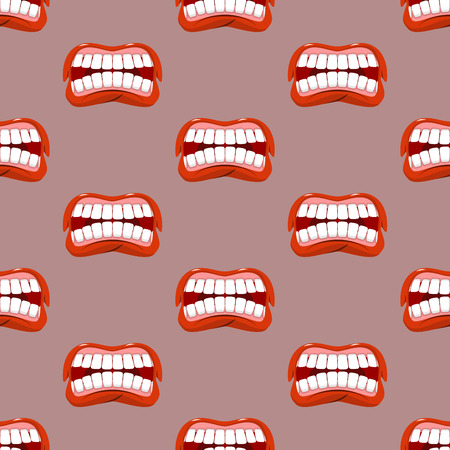 yells: Yells lips seamless pattern. Creek background. aggressive emotion texture. Open your mouth and tongue. Flying saliva. Shout. Shrill scream. Swearing and bad language Illustration