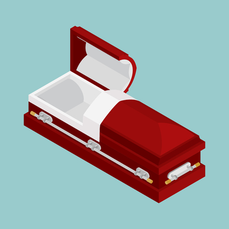 burial: Open coffin isometrics. Wooden casket for burial. Red hearse. Religious illustration