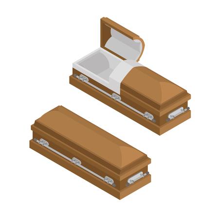Coffin Isometrien. Hölzerne Schatulle für die Beerdigung. Offene und geschlossene hearse. Religiöse Darstellung Vektorgrafik