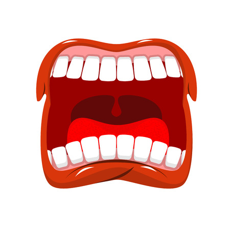 Scream. Man shouts. Violent emotion. Open your mouth and tongue. Flying saliva. Shout. Shrill scream. Swearing and bad language