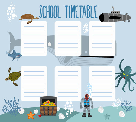 school schedule: School schedule with underwater world. timetable Lesson plans all week. Shark and whale. Diver and turtle