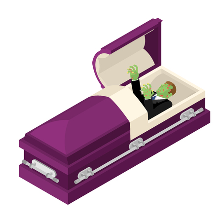 coffins: Zombie in coffin. Green dead man lying in wooden casket. Corpse in an open hearse for burial. Deceased with cadaveric spots