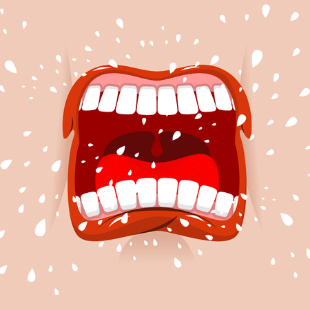 dissatisfaction: Shout aggressive face. Man Yells. Violent emotion. Open your mouth and tongue. Flying saliva. Shout. Shrill scream. Swearing and ribaldry