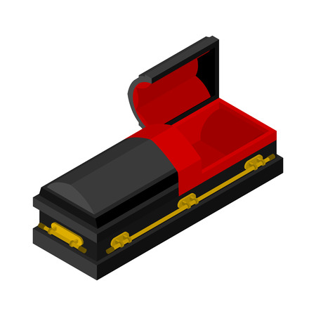 hearse: Open black coffin isometrics. Wooden casket for burial. Red hearse. Religious illustration