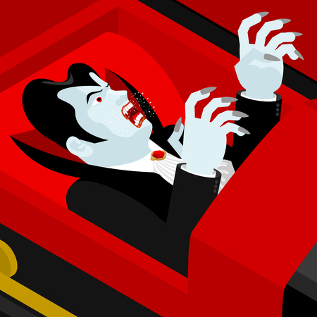 Dracula in coffin. Vampire Count in an open coffin. Ghoul in casket. Retro monster Illustration