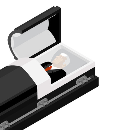 Verstorbener in einem Sarg. selige lag in Holzschatulle. Leiche in einem offenen Leichenwagen für die Beerdigung