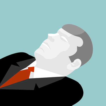fainted: Deceased isolated. Illustration of dead man in suit. Dead businessman. Funeral