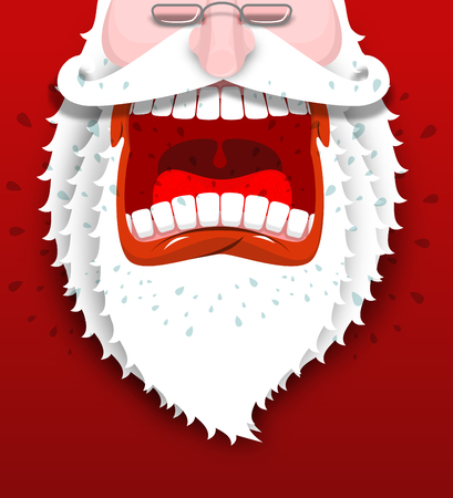 drooling: Angry Santa Claus shouts. Unhappy Santa with big white beard. Cursing and swearing. Flying drooling. Scary bad grandfather. Illustration for Christmas and New Year Illustration
