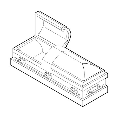 hearse: Open coffin in linear style. Wooden casket for burial. Red hearse. Religious illustration