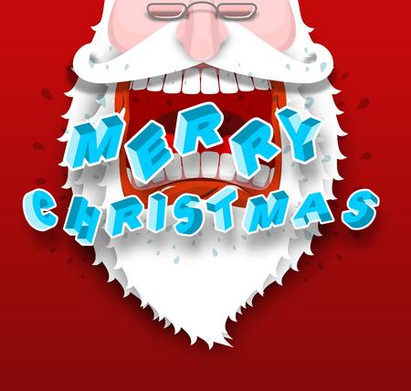 Santa Claus yelling Merry Christmas. Joyful grandfather with big white beard. Loud congratulates. Illustration for new year