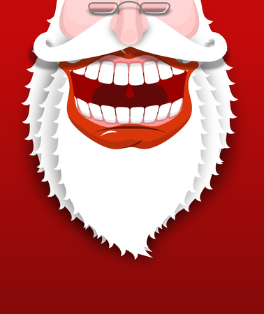 Jolly Santa Claus. Joyful grandfather with white beard. Broad smile. Big red lips and white teeth. Illustration for Christmas and New Year