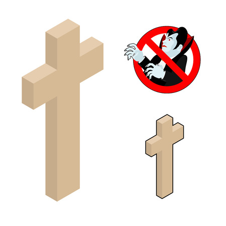 Wood cross, crucifix against vampires. Ban Dracula. Anti Vampire tool. Destruction and extermination of ghoul. Elimination of  undead Illustration
