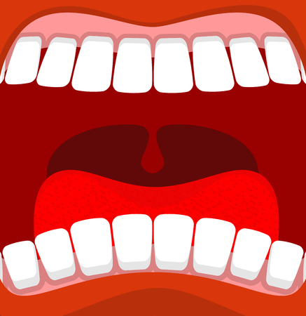 uvula: Open mouth. Red lips and white teeth. tongue and throat