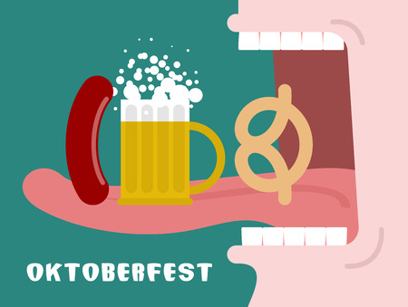 oktoberfest food: Man eating pretzel, beer and sausage. Traditional Oktoberfest food. Consumption of alcohol. Open mouth with tongue and teeth. National Holiday in Germany. Illustration