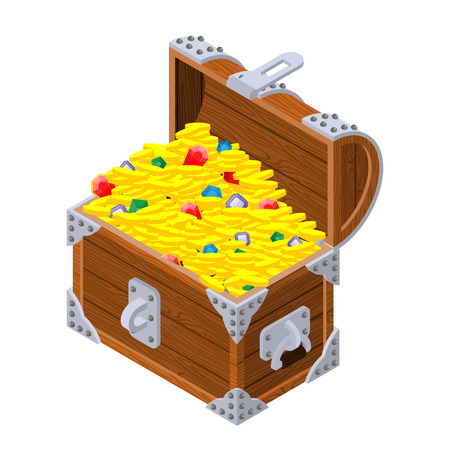 Open treasure chest isometrics. Old casket with money. Gold and precious stones ornament. Sapphires and diamonds. Coins and emeralds. Pirate Hidden Wealth Vettoriali