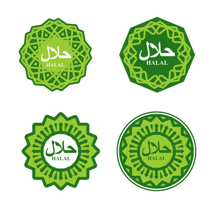 permitted: Halal sign. Muslim traditional food  . Etiquette Arabic meal.  for Muslims permitted feed. Islamic ornament.