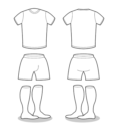 pant: Sample for sports clothing soccer. T-shirt, shorts and socks template for design. Football shape blank curve