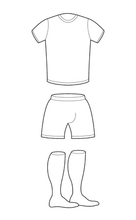 T-shirt, shorts and socks template for design. Sample for sports clothing soccer. Football shape blank curve