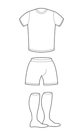 long socks: T-shirt, shorts and socks template for design. Sample for sports clothing soccer. Football shape blank curve