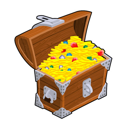 Open treasure chest. Old casket with money. Gold and precious stones ornament. Sapphires and diamonds. Coins and emeralds. Pirate Hidden Wealth Vettoriali