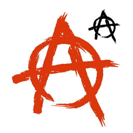 anarchism: Anarchy Symbol grunge style. Sign of disorder and chaos. Emblem of arbitrariness and lack of state power. Antisocial