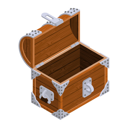 Open chest isometrics. Blank Old casket. Pirate bag