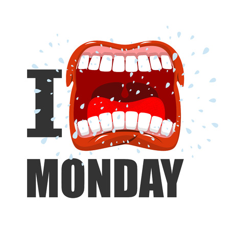 weekday: I hate Monday. shout symbol of hatred and antipathy. Open mouth. Flying saliva. Yells and strong scream.  hatred weekday Illustration