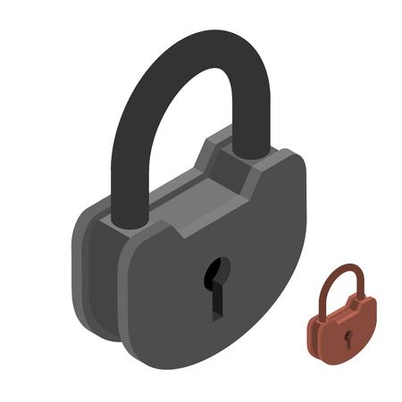 rusty padlock: Iron lock. Large heavy padlock. Big vintage latch Illustration