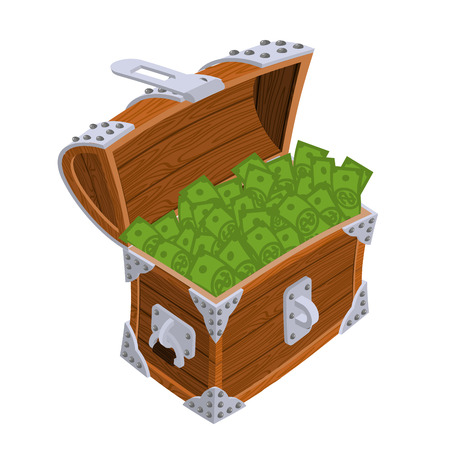 Open chest with money. Old casket with cash. Wealth dollar Illustration