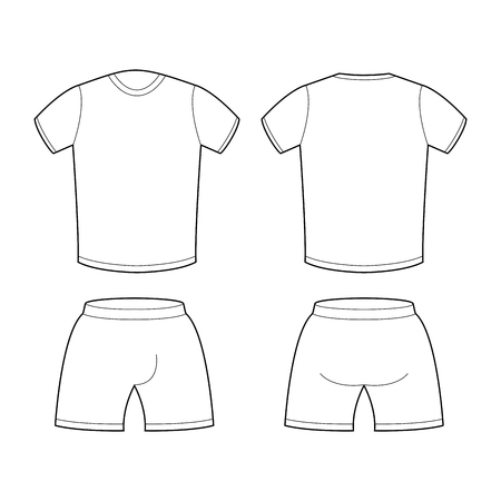 sports clothing: T-shirt and shorts Template for design. Sample for sports clothing soccer. Football shape blank curve