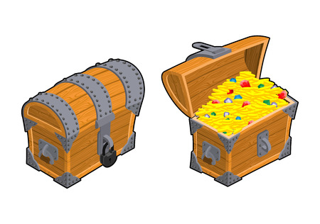 Treasure Chest set. Outdoor and indoor Old casket with money. Gold and precious stones ornament. Sapphires and diamonds. Coins and emeralds. Pirate Hidden Wealth Illustration