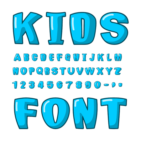 plump: Kids font. Voluminous blue letters. ABC for kids. Cute lettring. plump alphabet Illustration