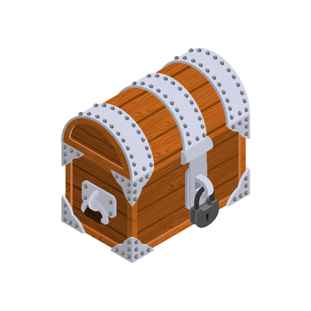 wood crate: Closed Chest isometrics. Old casket with large lock. Hidden treasures Illustration