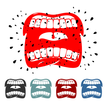saliva: Shout. angry face emotion. Screaming mouth with saliva in flat style. Strong cry.