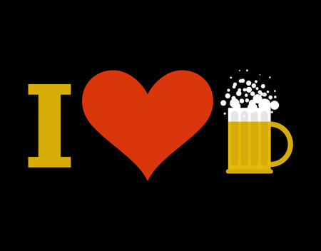 alcoholic beverage: I love beer. Sign of heart and mug of alcoholic beverage with foam. Illustration