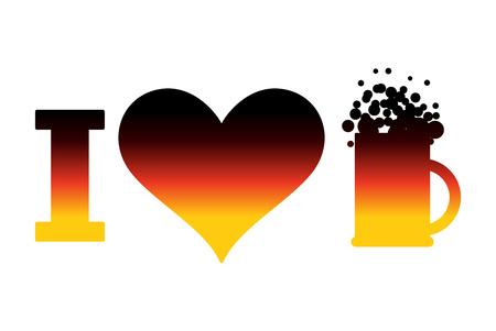 national holiday: I love beer  for Oktoberfest. German flag. Sign for national holiday in Germany