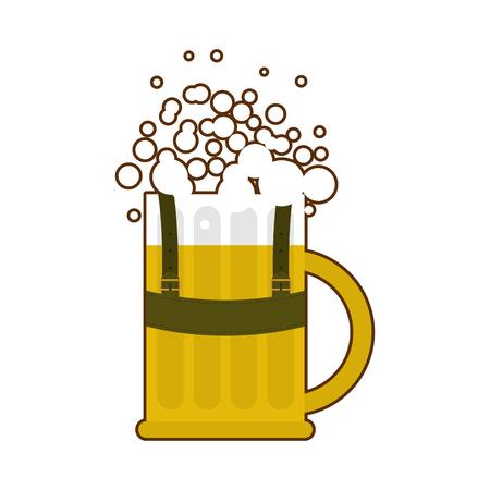 suspender: Beer mug in traditional Bavarian national costume. Alcohol for Oktoberfest. Folk Festival in Germany