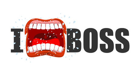 scream: I hate boss. shout symbol of hatred and antipathy. Open mouth. Flying saliva. Yells and Shrill scream. Illustration