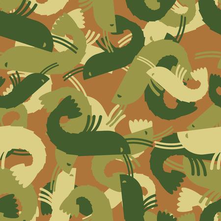 plancton: camarones Textura militar. Ejército plancton patrón transparente. animales marinos camuflaje ropa de protección para los soldados