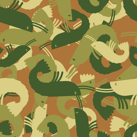 plankton: Military texture shrimp. plankton Army seamless pattern. Protective camouflage marine animals for clothing soldiers