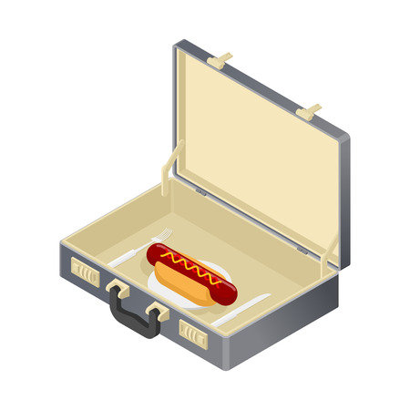 open sandwich: Business lunch, hotdog in case. Suitcase with fast food