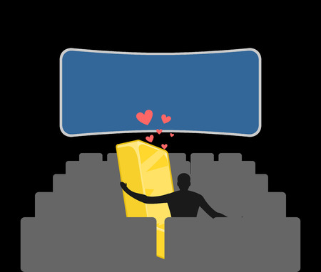 bullion: Lover gold. Golds bullion in movie theater. Man and wealth in cinema. Places for kisses on last row. Lovers watching movie. Romantic illustration