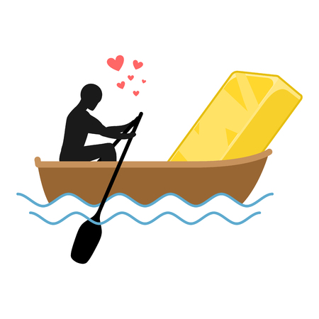 rich couple: Lover gold. Man and Golden bullion and ride in boat. Lovers of sailing. Man rolls wealth of gondola. Rendezvous in boat on pond. Romantic illustration Illustration