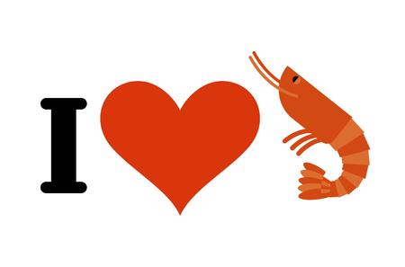 plancton: Me encanta el camarón. Corazón y plancton marino. para los amantes de los mariscos Vectores