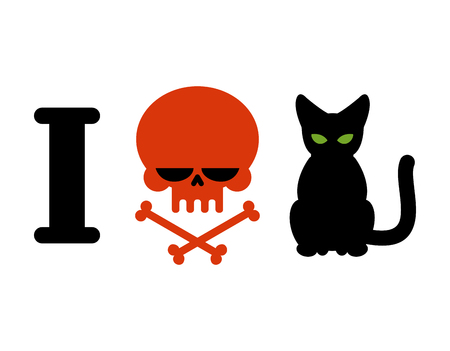 hatred: I hate cats. Skull symbol of hatred and pets. for allergy sufferers and hooligans