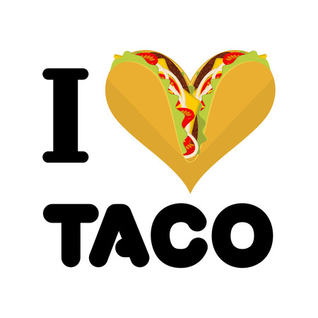 fastfood: I love taco. Heart symbol of Mexican food. Tortilla chips and onion. Tomato and fresh meat. for fastfood lovers