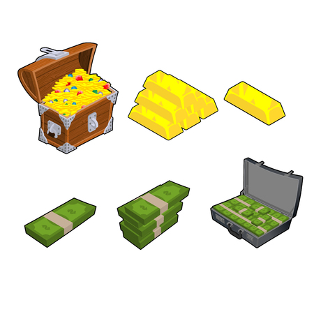 paper wad: Chest with gold. Golden bar. Case with money. Wad of cash. Dollars stack. Set wealth. Financial set Illustration